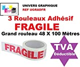 3 Rouleaux Adhésif FRAGILE - 48 X 100 MÈTRES- (40% de plus que les 66 mètres)- rouleau pour emballage, expédition - ruban adhésif de haute qualité idéal pour carton, emballage, expédition et stockage marque UNIVERS GRAPHIQUE référence UGRADFR