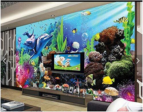 Nomte Gebruikergedefinieerde 3D Fotobehang 3D Fotobehang zee Aquarium 3D Stereo Tv achtergrond Tropische Vissen 3D Woonkamer Behang 200x140cm
