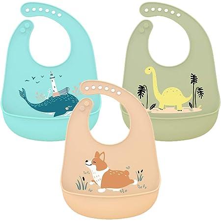 Blau + Lila 2er Set Silikon Baby L/ätzchen mit Silikon mit Auffangschale und Druckkn/öpfen f/ür Jungen M/ädchen BPA frei Sp/ülmaschinenfest Abwaschbar /& Leicht zu Reinigen Wasserdicht L/ätzchen