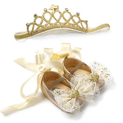 Carolilly Juego de zapatos para bebé con diseño de flores y mariposas, antideslizantes, con diadema para bebé