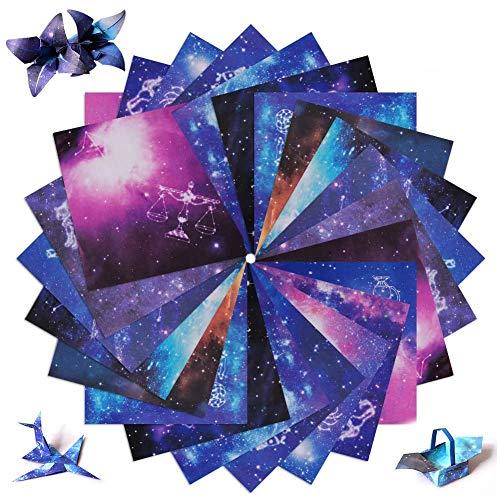 SIMUER 200 Hojas Papel Origami, Doble Cara Papel Papiroflexia Constelación Cielo Nocturno para Grulla Papiroflexia Niños Adultos Origami Proyectos de Arte y Manualidades -15*15 cm Cuatro Estilos