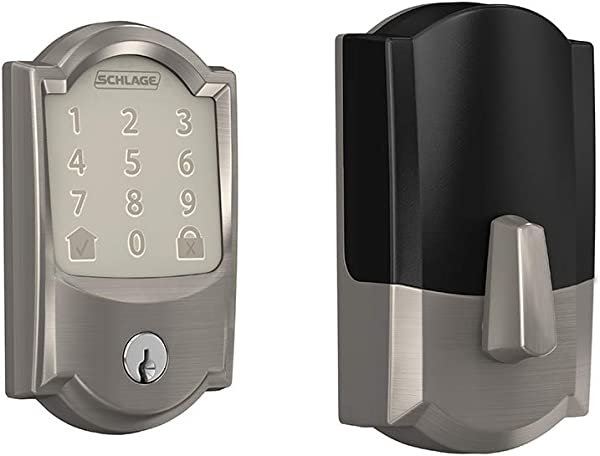 Schlage Encode Smart WiFi Deadbolt With Camelot Trim In Satin Nickel BE489WB CAM 619