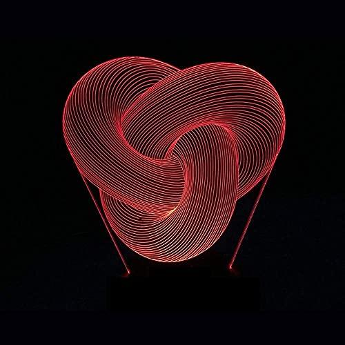 nakw88 Lámpara Escritorio Luz LED Abstracta Degradado Colorido 3D estéreo táctil Remoto USB luz de Noche mesita de Noche Decorada con imaginación Regalo de Cumplea?os 20 * 13 cm