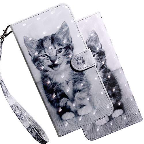 Asdsinfor xiaomi redmi 9 caso 3D elegante avanzada repujado cartera caso tarjetas de crédito ranura con soporte para pu cuero a prueba de golpes Flip magnético caso para xiaomi redmi 9 sonrisa gato BX