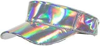 Whoopsu Shiny Holographic Plain Sport Sun Visor Laser Leather Adjustable Summer Cap