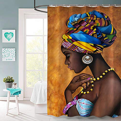 BLOOM SOMEWHERE African Woman Necklace Shower Curtain Set Creative Home Ideas Decorative Curtain Machine Washable Modern Bathroom Accessories with Hooks Bath Curtain 72X72 inch