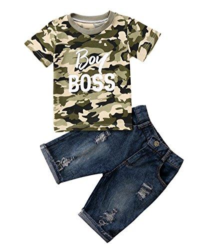 Jungs Kleidung Setzt Camo Boy boss T-Shirt+ Jeans Hose Jungen Kleinkind Kinder EU 74-116