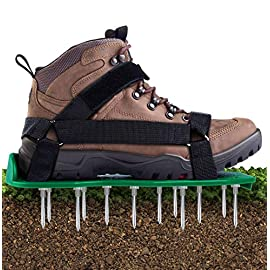 Ohuhu Lawn Aerator Shoes with Hook & Loop Straps, All New Unique Design Free-Installation Heavy Duty Spiked Aerating… 1 ALL NEW DESIGN WITH VELCRO: Be tired of 3 or 4 or 5 straps and buckles? Ohuhu 2019 all new design - aerator shoes with hook and loop fasteners, you can take them on and off in a snap, super convenient and stable, getting an aerated, healthy lawn has never been easier! No Installation Required: Skip all the hassle of bulky, expensive equipment and just take a stroll through your yard! All you have to do is to strap on the Ohuhu lawn aerator sandals and walk around your lawn, no assembly or prep required. You'll have a gorgeous lawn before you know it! Anti-slip Bottoms: We've put our heads together to come up with an even better-designed version of the Ohuhu aerator shoes which comes with a lug boss on the bottom so the spikes stay securely locked in place. Plus, the anti-slip pads prevent slippage when the grass is wet.