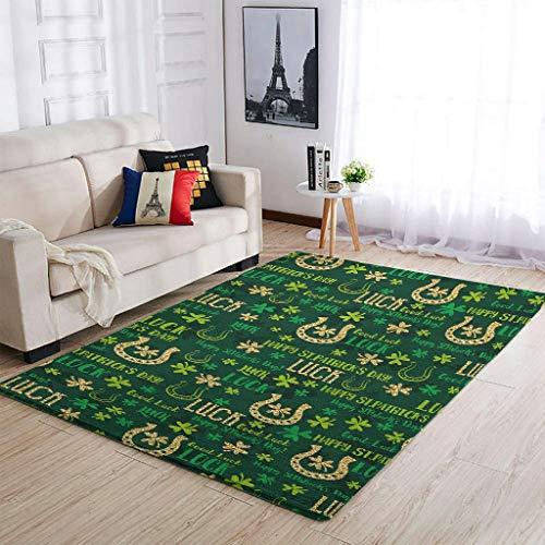 YOUYO Spark Alfombra Clover Día de San Patricio Antideslizante - Hermosa alfombra de piso para cocina blanca 122 x 183 cm