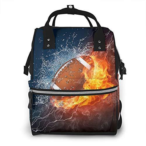 Bolsa de pañales para mamá, mochila de fútbol en fuego y agua, gran capacidad, para el cuidado del bebé
