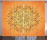 ABAKUHAUS Loto Cortinas, Mandala Anaranjada, Sala de Estar Dormitorio Cortinas Ventana Set de Dos Paños, 280 x 260 cm, Naranja
