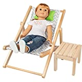 Dress Along Dolly Lounge Chair Bed & Table Seat Set for American Girl & 18' Dolls - Premium Handmade Indoor & Outdoor Dollhouse Bedroom Furniture Beach Accessories