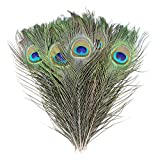 50pcs Natural Peacock Feathers for Crafts Wedding Home...