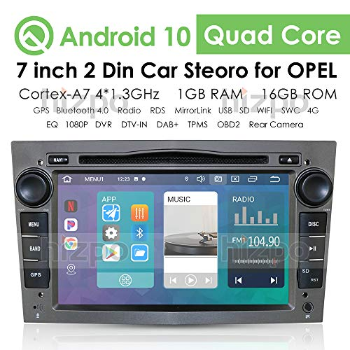 Android 10 Car Multimedia System WiFi Vehicle Audio Bluetooth Car Radio con Pantalla táctil de 7 Pulgadas Enlace Espejo USB DVR OBD2 Dab + Se Adapta a Opel Antara Combo Meriva (Gris)