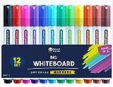 Rotuladores para Pizarra Blanca de SmartPanda – Punta de Bala – Borrado Seco, Ideal para el Hogar, Escuela u Oficina – Juego de 12 Colores Variados