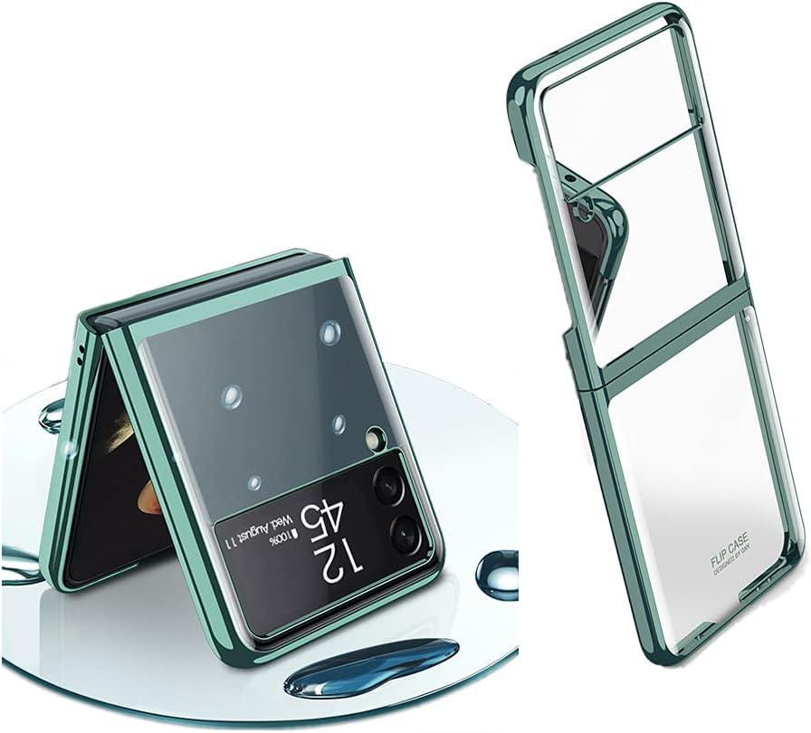 Plating Slim Shiny Case for Samsung Galaxy Z Flip 3, Transparent Hard PC Shockproof Case for Galaxy Z Flip 3 (Dark Green)