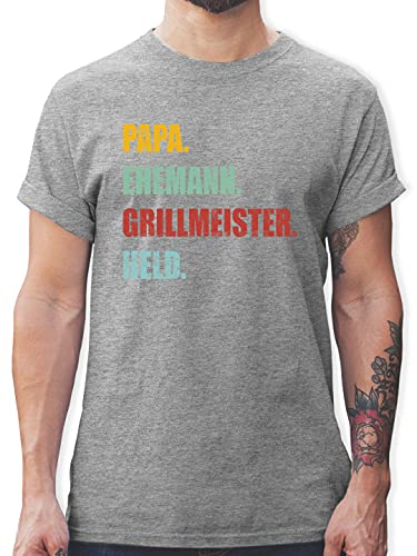 Vatertagsgeschenk - Papa Ehemann Grillmeister Held Retro Vintage Effekt - S - Grau meliert - Tshirt held Papa - L190 - Tshirt Herren und Männer T-Shirts