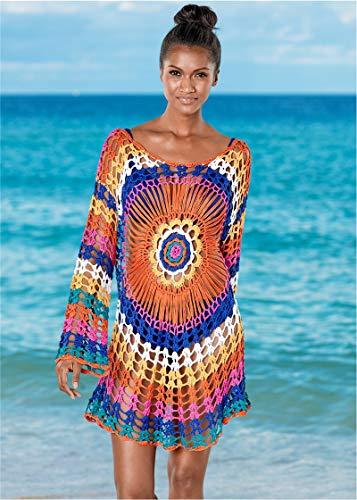 Jinsha Vestido de Playa - Mujer Pareos y Camisola de Playa Sexy Hueco Traje de Baño Punto Bikini Cover up (Colourful)