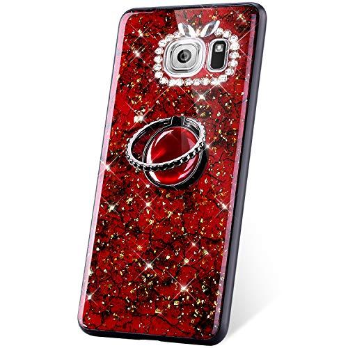 JAWSEU Compatible avec Samsung Galaxy S7 Coque Glitter Paillette Brillant Silicone TPU[Support de Bague] Diamant Strass Case Cristal Clair Flexible Souple Gel Bumper Case,Rouge
