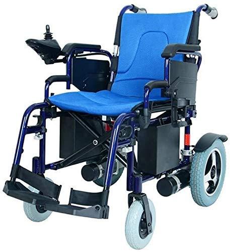 MU 2020 Elektrischer Rollstuhl, zusammenklappbar, geringes Gewicht, hohe Widerstandsfähigkeit, Lithium-Akku, Titan-Legierungen, Blau