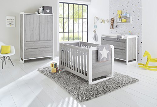 Pinolino 103440b 3 pièces Largeur, lit bébé, commode avec table à langer, armoire, acier mat et revêtement blanc 140 x 70 cm