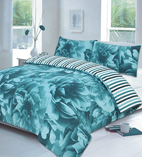 Floral Duvet Cover Set King Size Kingsize Bed with Pillowcases Quilt Bedding Set Reversible Poly Cotton, Rose Teal