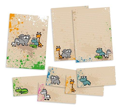 Set Briefpapier für Kinder | Safari-Tiere | Schreibblock DIN A4 mit 24 Blatt + 15 Briefumschläge DIN lang + hochwertige Mappe