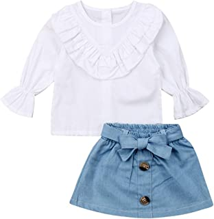 2Pcs Toddler Kids Baby Girl Long Flare Sleeve Ruffle Tops+Short Denim Bowknot Skirts Fall Outfit Clothes Set