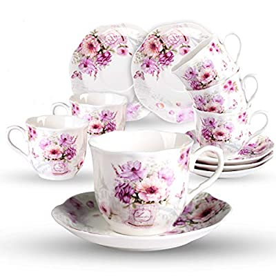 GuangYang China Tea Cups and Saucers Set of 6-7ounce/200ml - Tea Gift Sets for Adults - Purple Floral Porcelain TeaCup with Saucer for Tea Party(Total 12 Pieces)