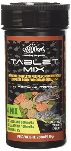 Haquoss Tablet Mix Mangime in Pastiglie affondanti per Pesci Pulitori da Fondo e Vetro, 250 ml/110 gr
