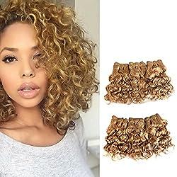 professional Purple Hair Natural Brazilian Dark Blonde Human Hair Extension Short Curly Bundle 27 #…