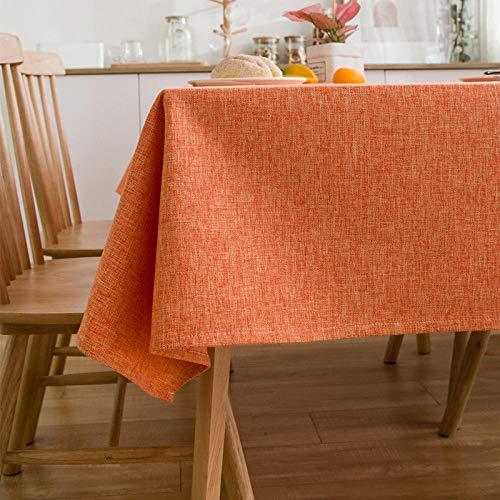 Qazzz - Mantel lavable repelente al agua y efecto loto con protección antimanchas de fácil cuidado, rectangular, color y varios tamaños - naranja1_140x200