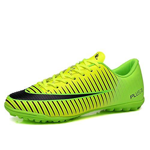 Zapatos de fútbol para niños Hombres Botas de fútbol para Interiores y Exteriores Athletic Turf Mundial Team Cleat Running Sports Ligero Transpirable Antideslizante Zapatos de amortiguación Verde 33