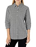 Amazon Essentials Women's Classic-Fit 3/4 Sleeve Poplin Shirt, Classic Gingham, Small