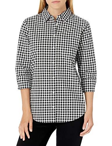 Amazon Essentials Women's Classic-Fit 3/4 Sleeve Poplin Shirt, Classic Gingham, XX-Large
