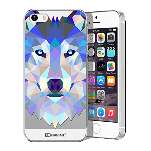 Caseink - Coque Housse Etui iPhone 5 / 5S / Se [Crystal HD Polygon Series Animal - Rigide - Ultra Fin - Imprimé en France] - Loup