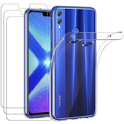 iVoler Custodia Cover per Huawei Honor View 10 Lite con 3 Pezzi Pellicola Vetro Temperato, Ultra Sottile Morbido TPU Trasparente Silicone Antiurto Protettiva Case