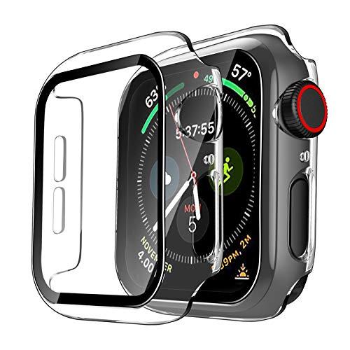 TAURI 2 Pack Funda Apple Watch 40mm Serie 6/SE/5/4 con Protector de Pantalla Cristal Templado HD Protección Completa Carcasa para iWatch Slim Cover de Bumper y Anti-Rasguños - Transparente