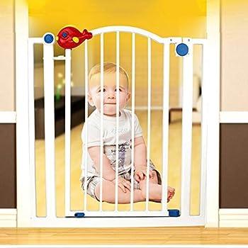 Porte de sécurité intérieure très large pour bébé avec porte pour animal domestique, se fixer à la barrière de protection d'escalier de garde-corps de rampe 78-147CM large en métal (taille: 127-133cm)