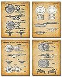 Star Trek Original USS Enterprise Patent Prints - Set of Four Photos (8x10) Unframed - Makes a Great Gift Under $20 for Trekkies