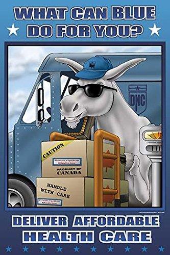 Paketversand emuliert einen USV-LKW mit Paketen auf einer Waage und Sackkarre Der Truck ist DNC oder demokratischen National-Committee gekennzeichnet von Richard Kelly (45,7 x 61 cm).