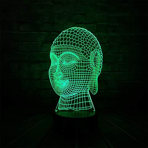 JYHW 3D Boeddha Head Tathagata Bless Enterprise Home Decoration LED USB-lamp Flash Party Atmosphere Illusion Night Light Gifts
