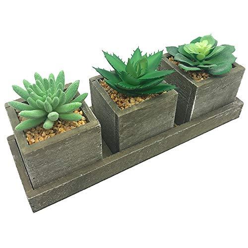 Aisamco Set di 3 succulente finte Piante succulente Artificiali Miste Pianta in Vaso Disposizione di fioriera in Legno Vasi Quadrati in Legno rustici e Vassoio espositore