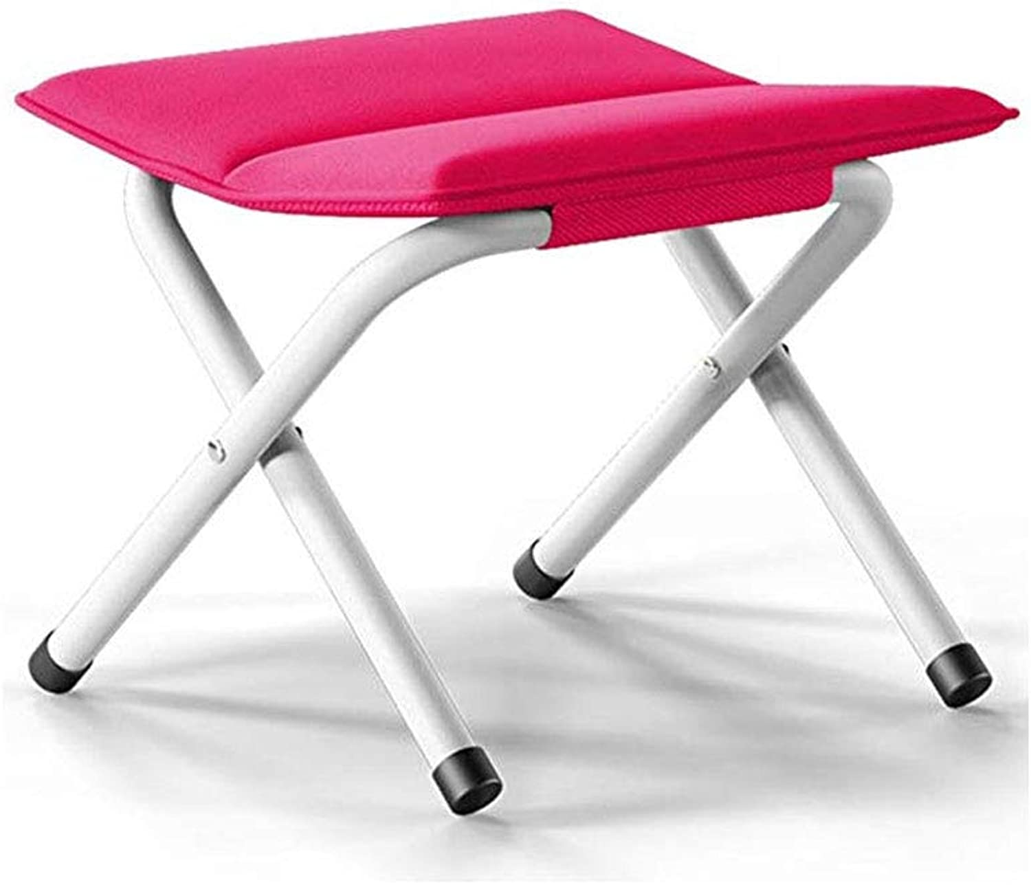 Footstool, Folding Chair Fabric Stool Portable Multifunctional Folding Stool Sofa Stool (color   pink red)