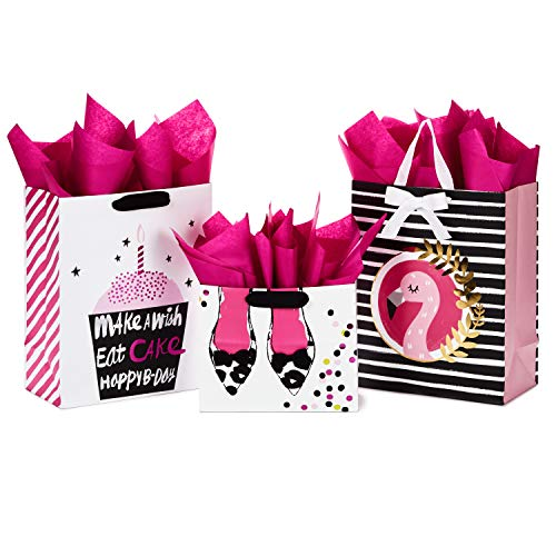 Hallmark Gift Bags Assortment with Tissue Paper - Pink and Black Cupcake, Shoes, Flamingo (Pack of 3: 2 Large 13' and 1 Medium 7' Gift Bags) for Birthdays, Mother's Day, Baby Showers, Bridal Showers