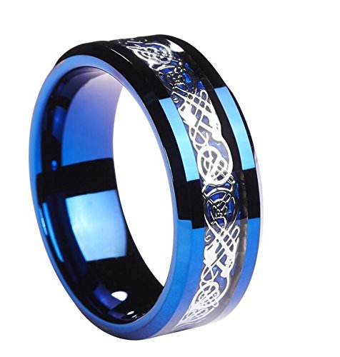 Queenwish 8mm Women's Celtic Claddagh Tungsten Wedding Band, Silver Celtic Dragon Knot Engagement Anniversary Ring for Couples Promise Jewelry