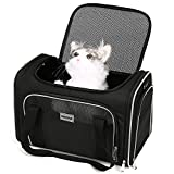 SERCOVE Carriers Airline Approved Pet Carrier Soft Sided Collapsible Breathable Small Dog Carrier Bag for 15Lbs Kitten Puppy Medium Dogs (Medium, Black)