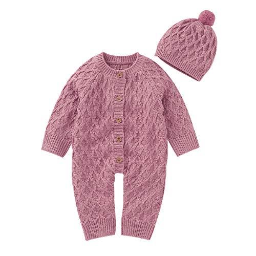 NCONCO Mono de punto para recién nacido, con gorro a juego para bebés de 0 a 18 meses Rosa rosa 6-12 Meses