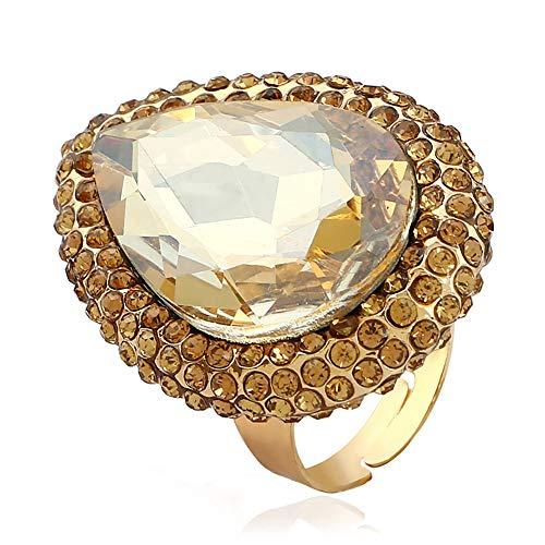 24 JOYAS Anillo de Cristales de Colores Exageradamente Grande, Dorado y Redimensionable a tu Dedo – Preciosa Joya Romántica para Mujer cumpleaños, Enamorados, Aniversario (Dorado)