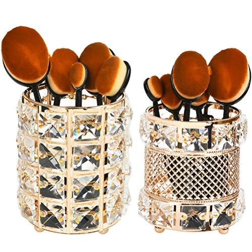 FOCCTS Make-up Pinselhalter, 2 Stück Kristall Runde & Netzstil Make Up Kosmetik Organizer Pinsel Aufbewahrung Schmink für Kosmetik-Werkzeuge Stifthalter Behälter, Gold, 10 * 12cm, 10 * 11.3cm